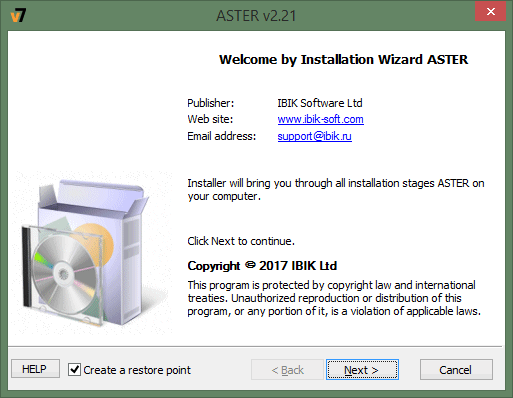The ASTER installation wizard