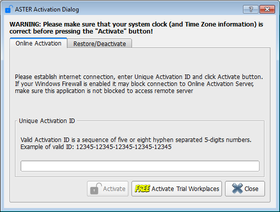 ASTER Activation Dialog with trial period