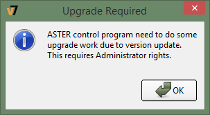information message: Upgrade Required