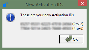 Your new activation IDs