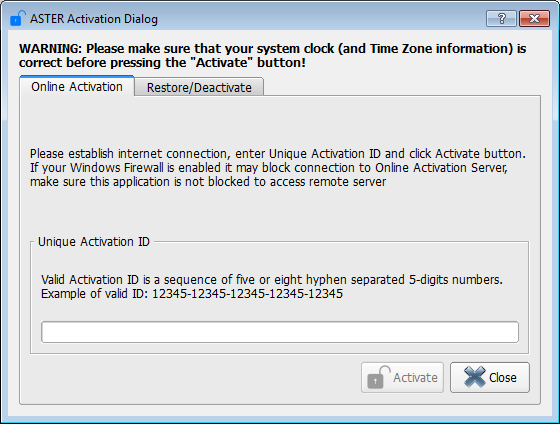 Activation Dialog (online activation tab is open)