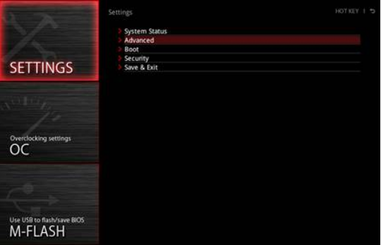 Select advanced BIOS settings